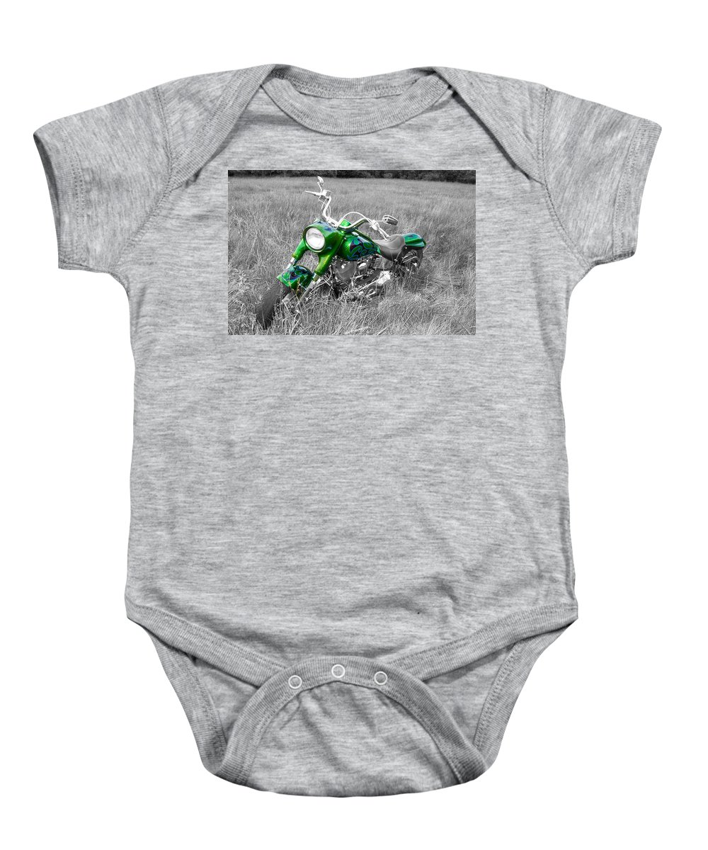Fat Boy Baby Onesie featuring the photograph Green Fat Boy by Guy Whiteley