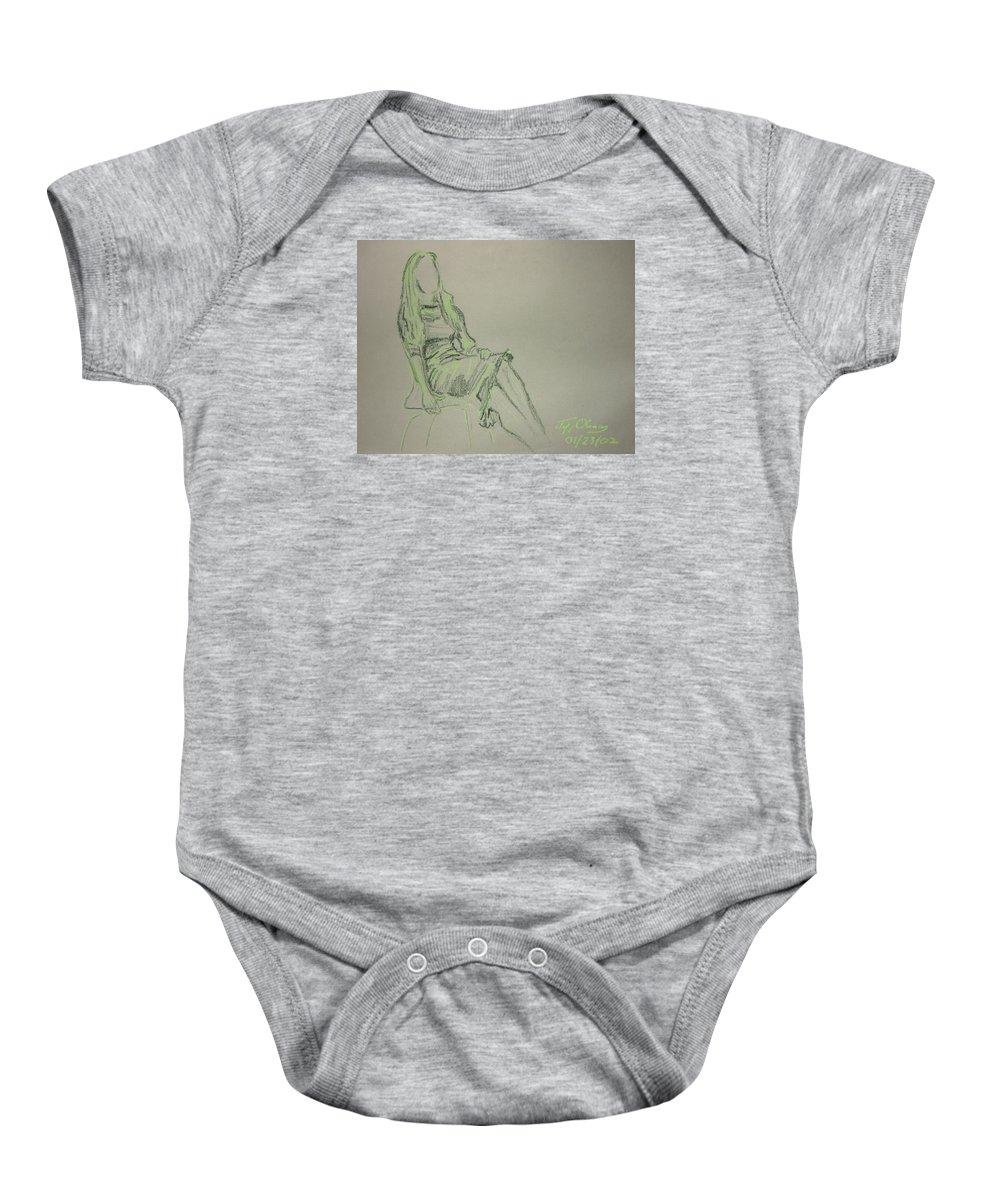 Figure Baby Onesie featuring the pastel Green Figure II by Jeffrey Oleniacz