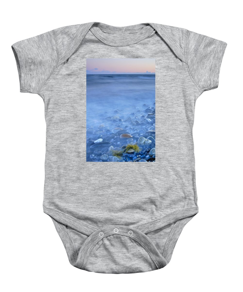 Seascape Baby Onesie featuring the photograph Green Kelp On The Rock by Guido Montanes Castillo