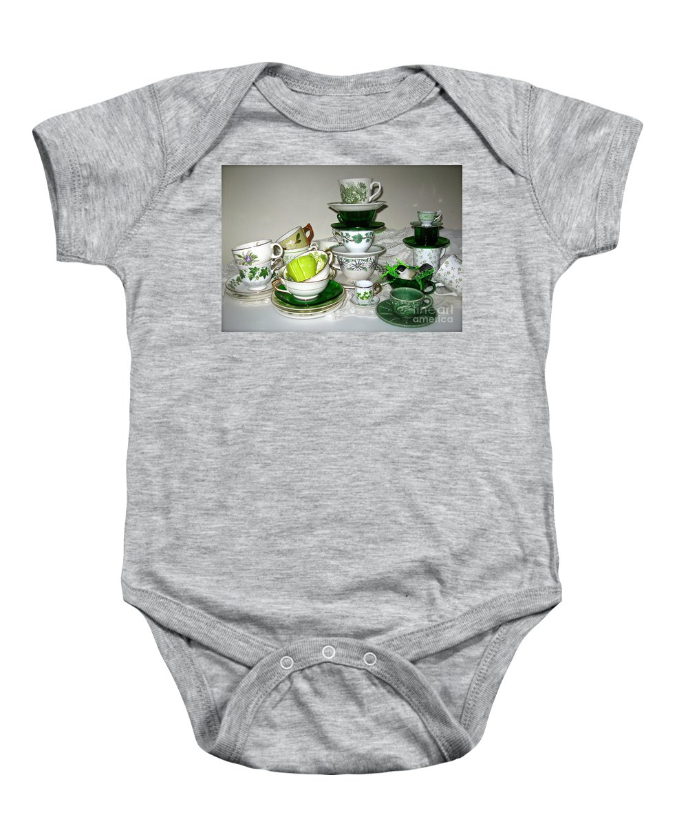 Collection Of Green Teacups Baby Onesie featuring the photograph Green Teacups by Nancy Patterson