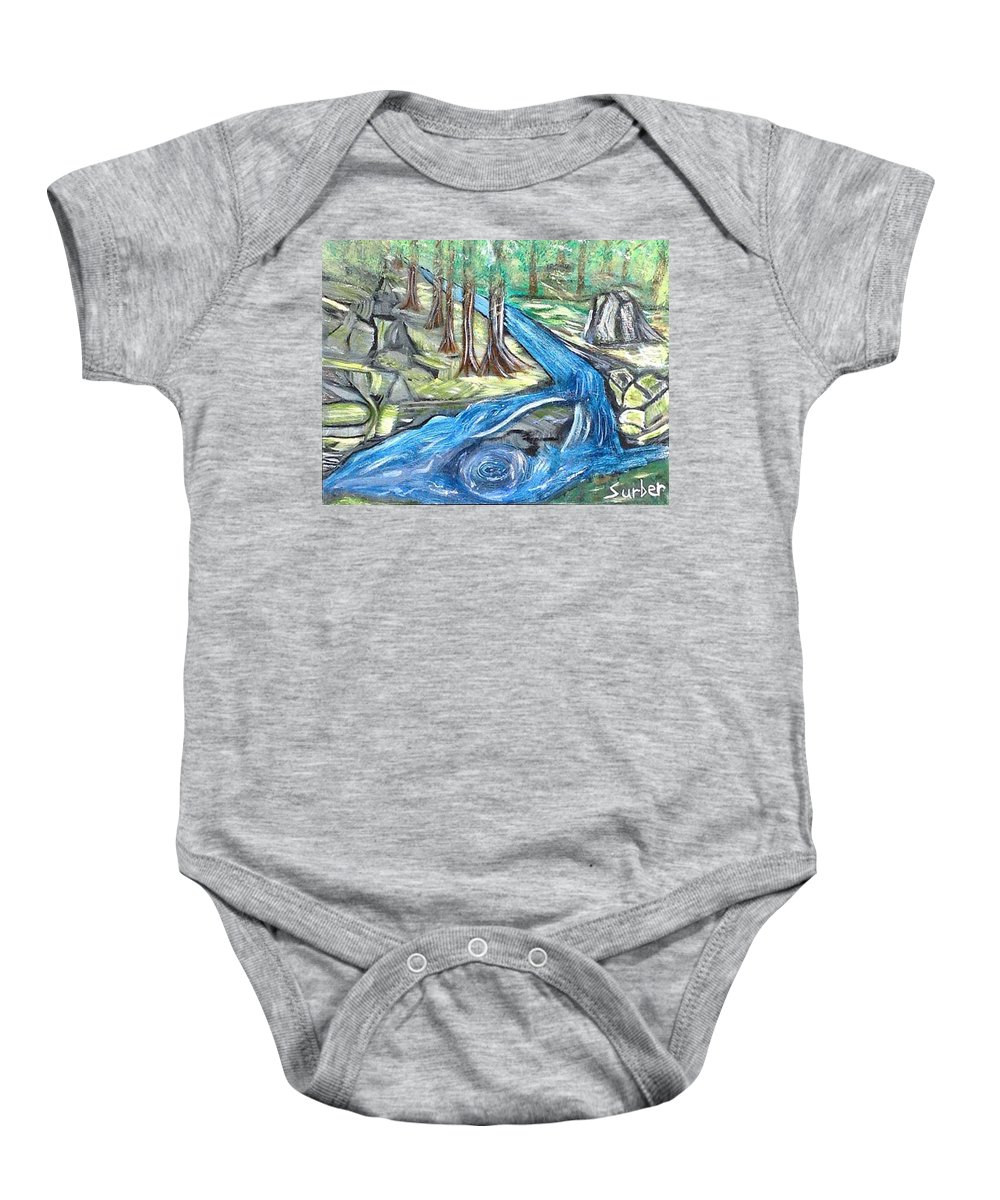 River Baby Onesie featuring the painting Green Trees With Rocks And River by Suzanne Surber