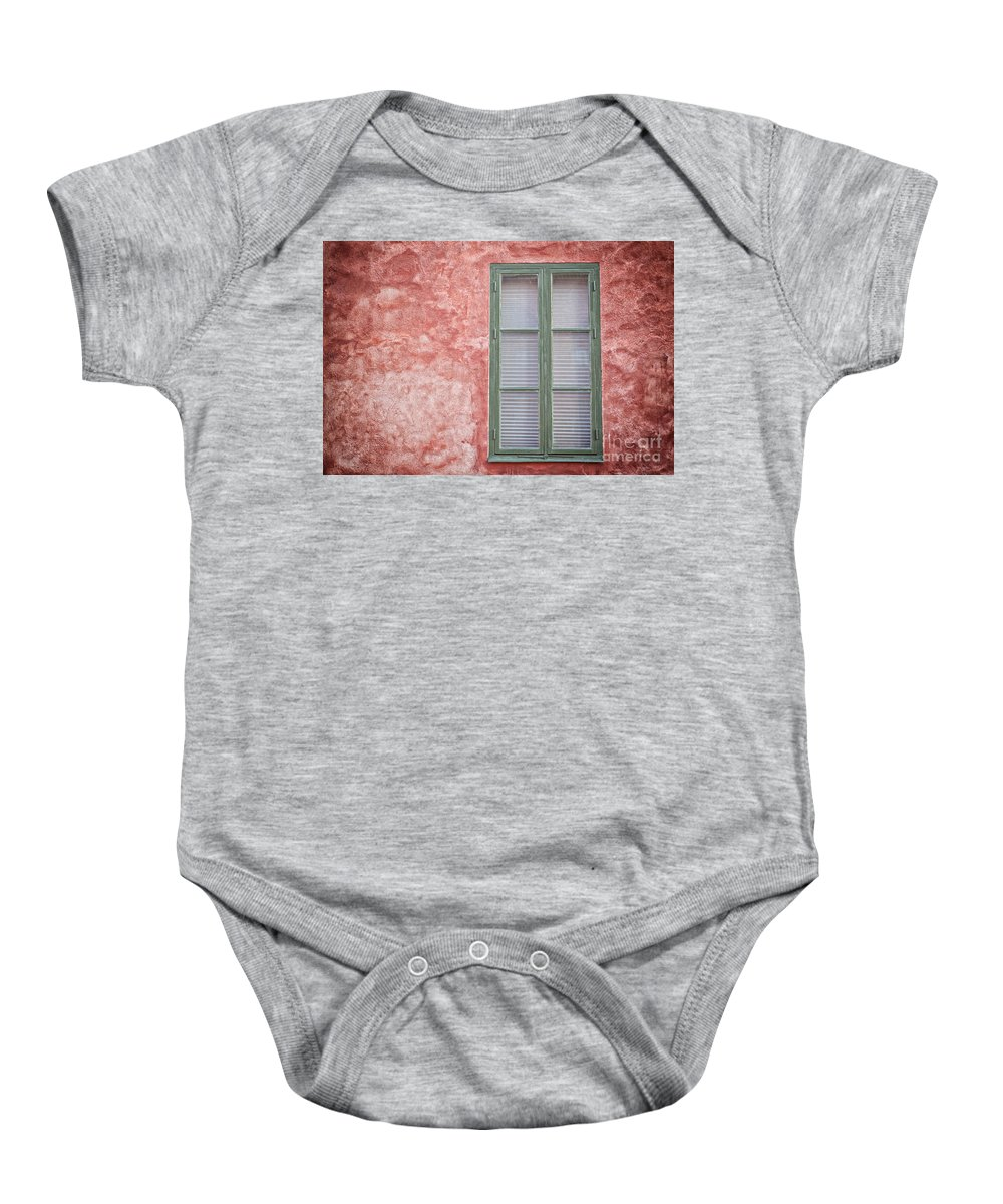 Copyspace Baby Onesie featuring the photograph Green Window On Red Wall. by Sophie McAulay