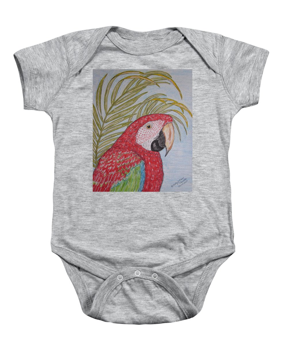 Green Wing Macaw Baby Onesie featuring the painting Green Winged Macaw by Kathy Marrs Chandler