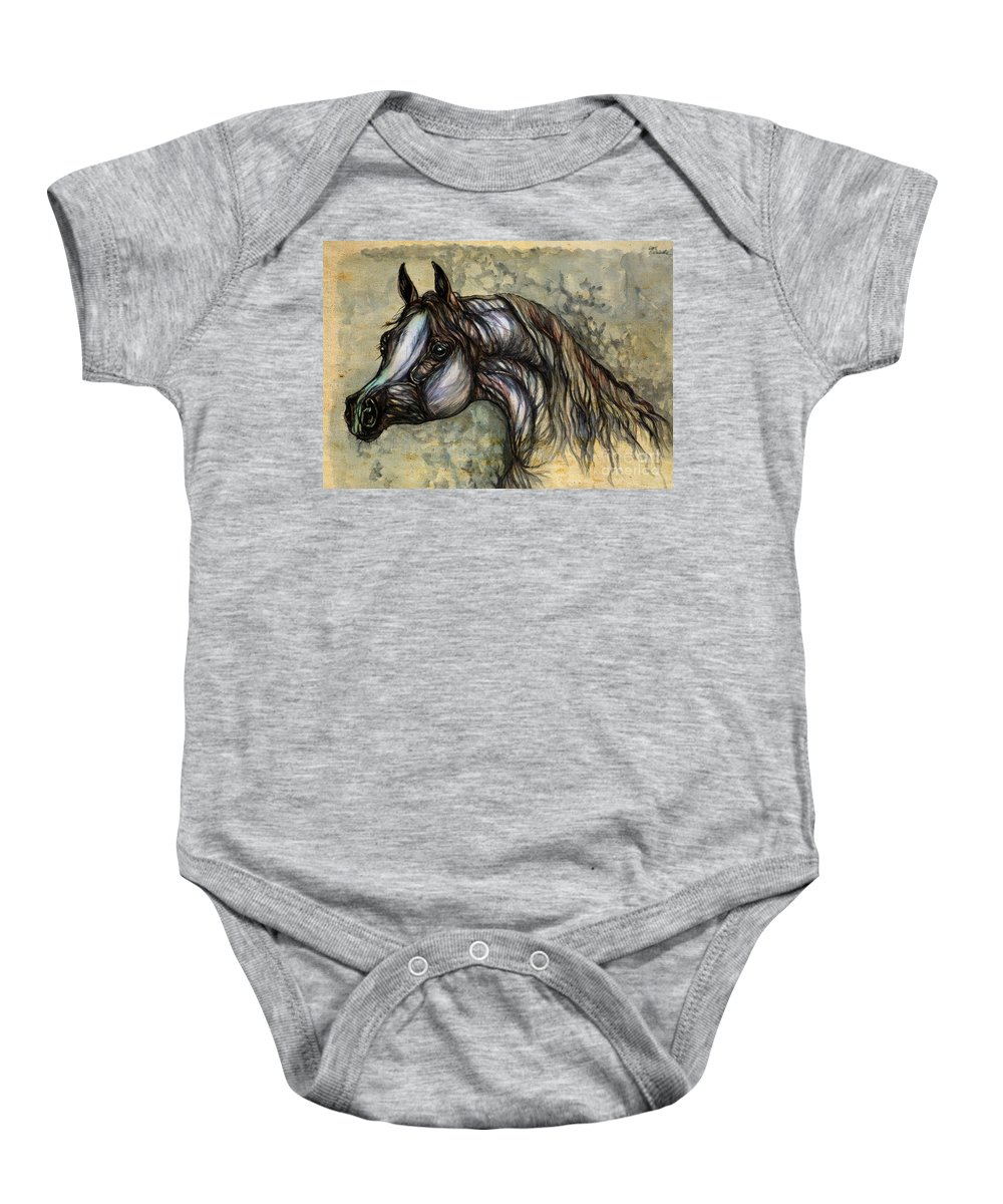 Horse Baby Onesie featuring the painting Grey In The Sepia by Angel Ciesniarska