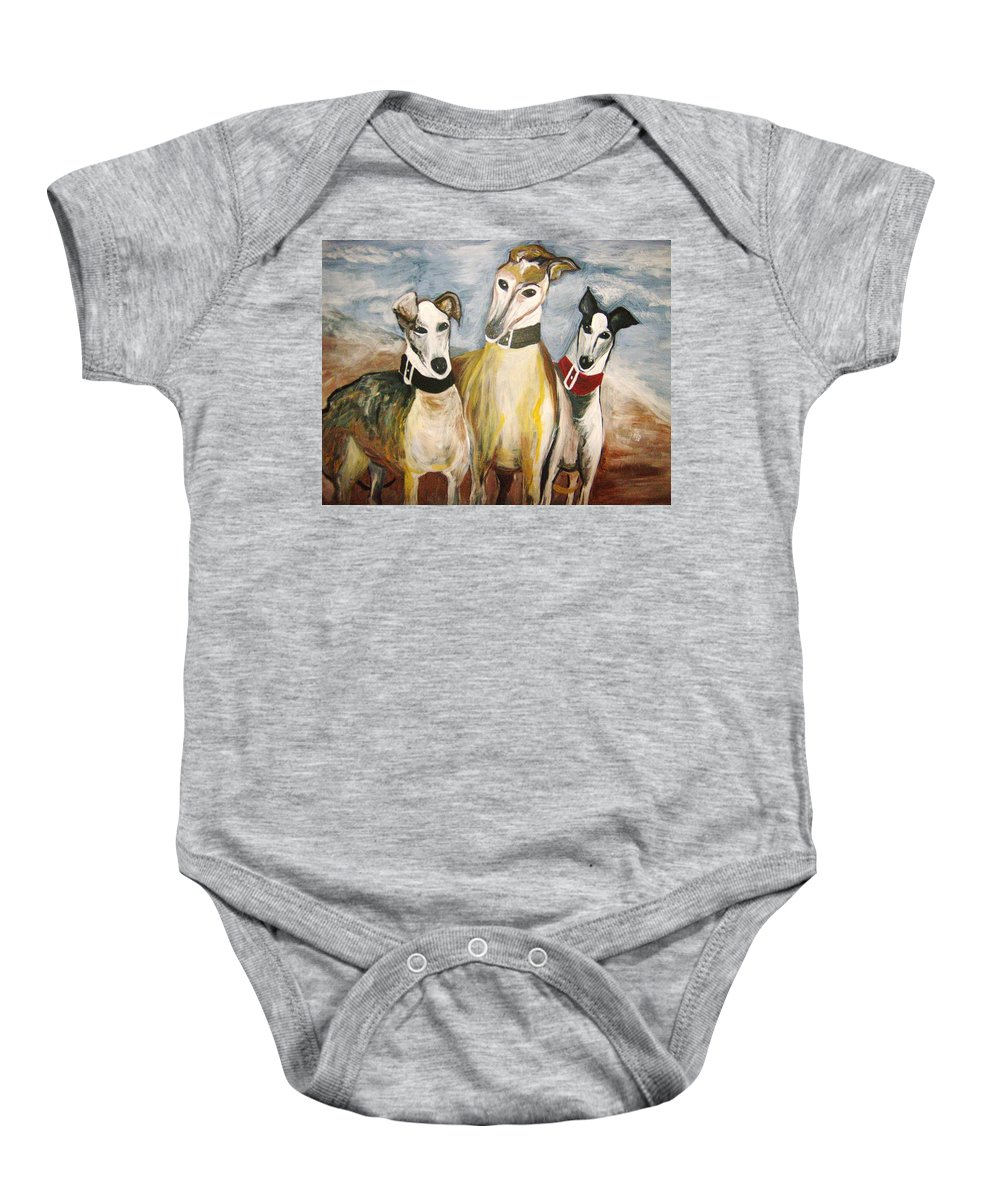 Greyhounds Baby Onesie featuring the painting Greyhounds by Leslie Manley