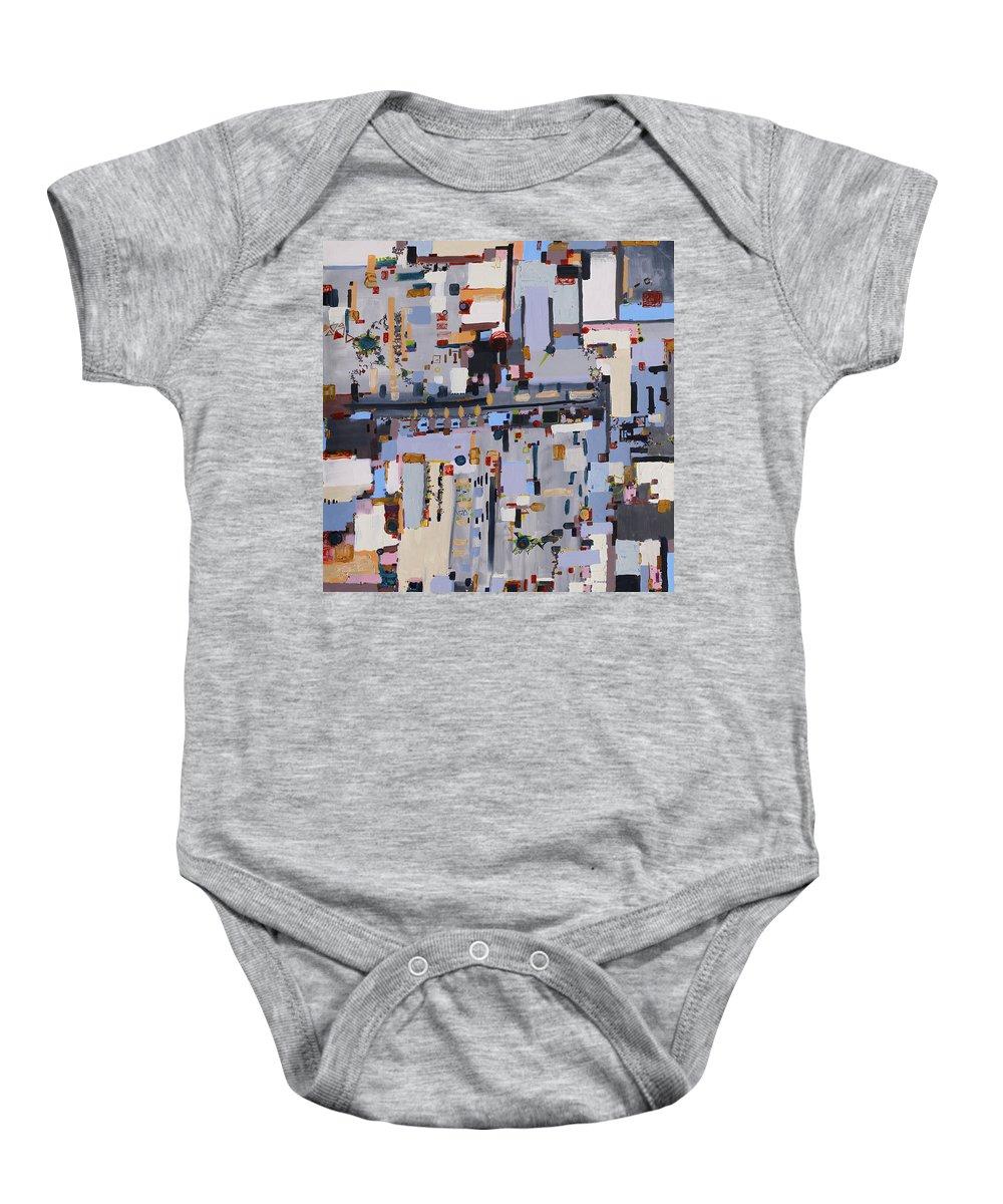 Urban Baby Onesie featuring the painting Gridlock by Regina Valluzzi