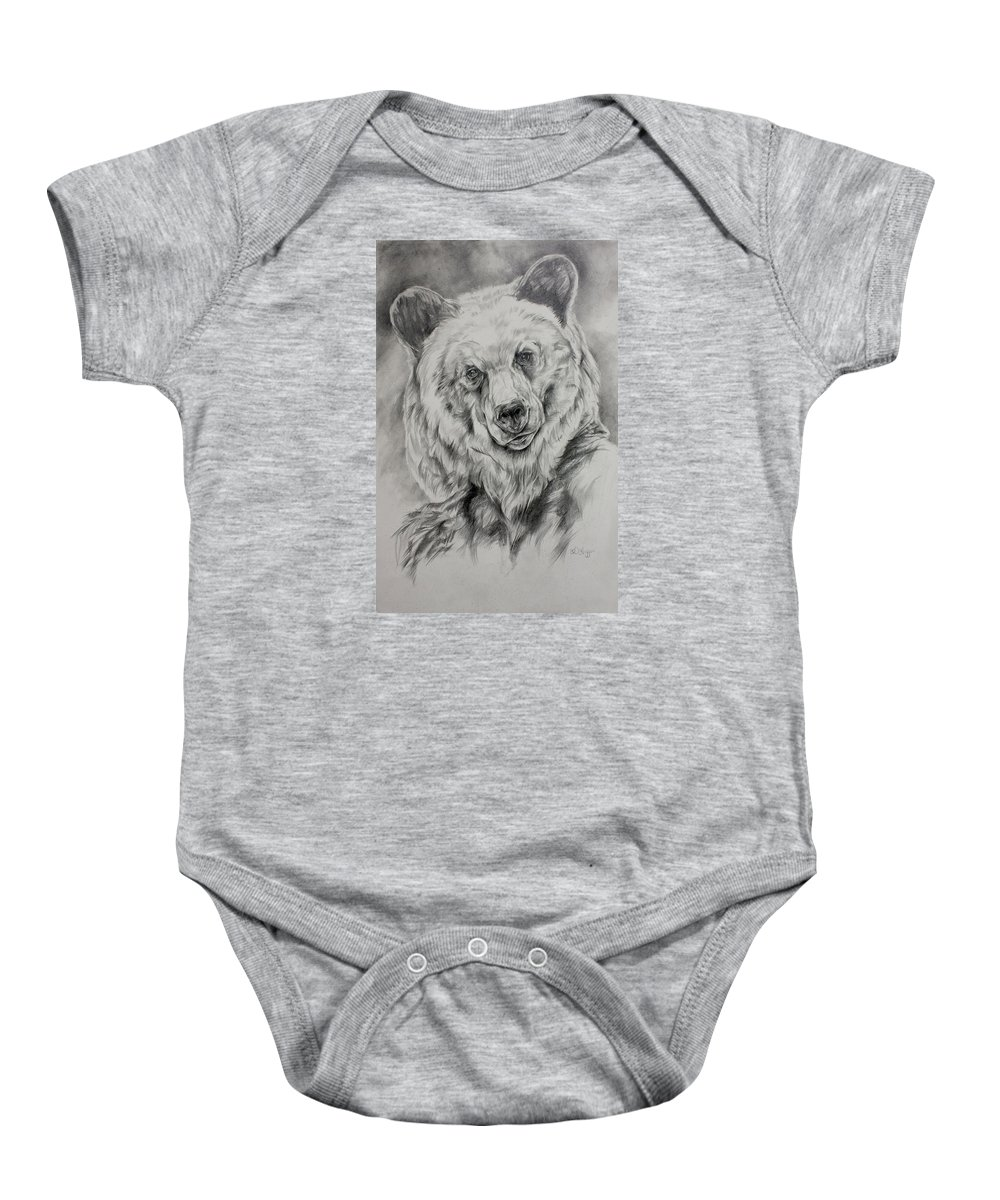 Grizzly Baby Onesie featuring the drawing Grizzly by Derrick Higgins