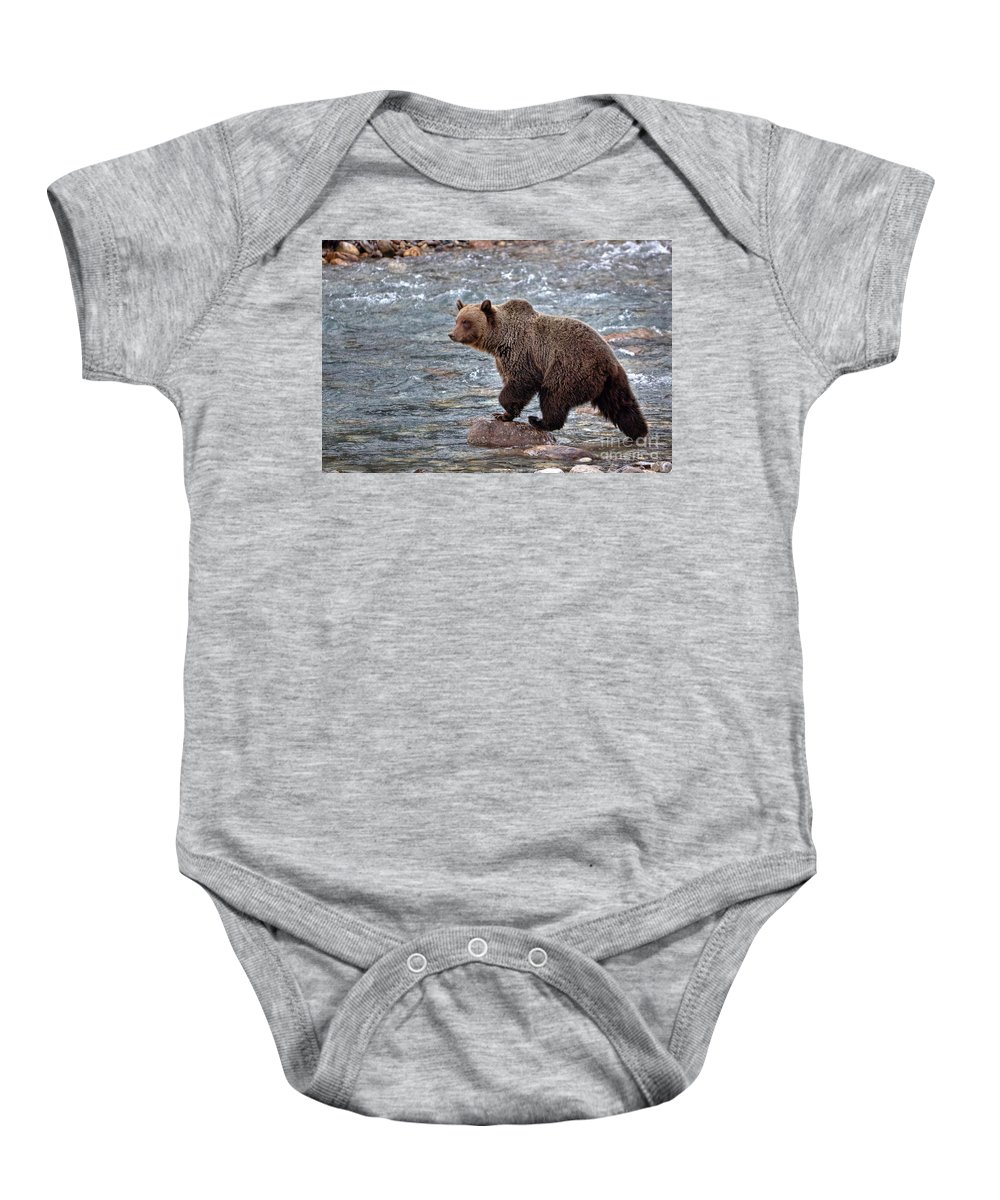 Grizzly Bear Baby Onesie featuring the photograph Grizzly River by James Anderson