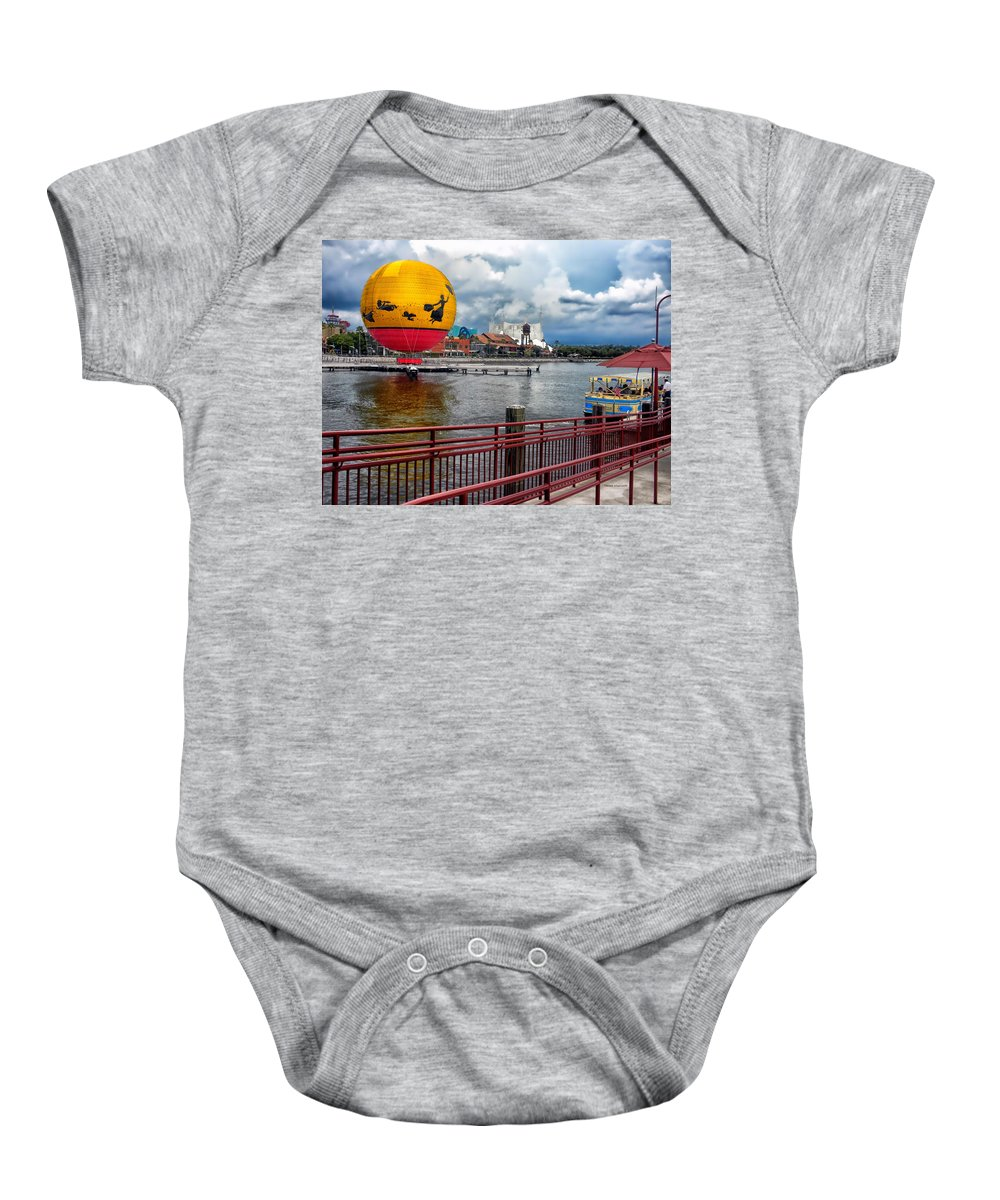 Transportation Baby Onesie featuring the photograph Grounded By The Storm Balloon Ride Walt Disney World by Thomas Woolworth