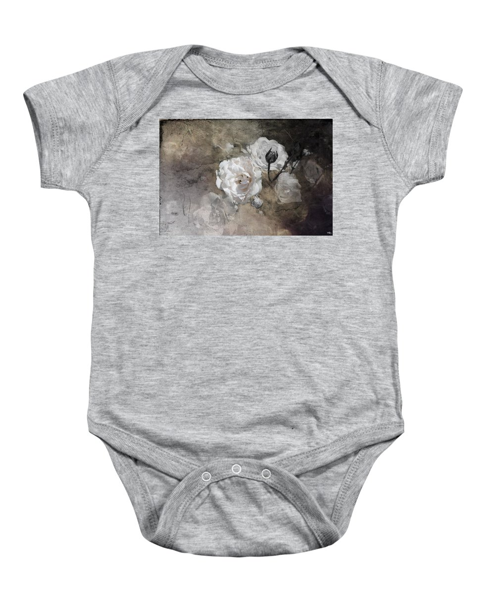 Flower Baby Onesie featuring the photograph Grunge White Rose by Evie Carrier