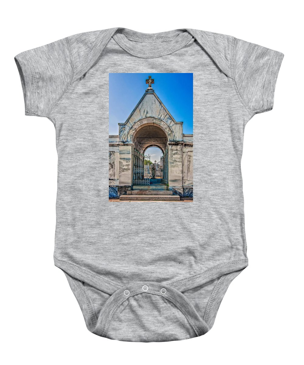 Metairie Cemetery Baby Onesie featuring the photograph Guardian Angel by Steve Harrington