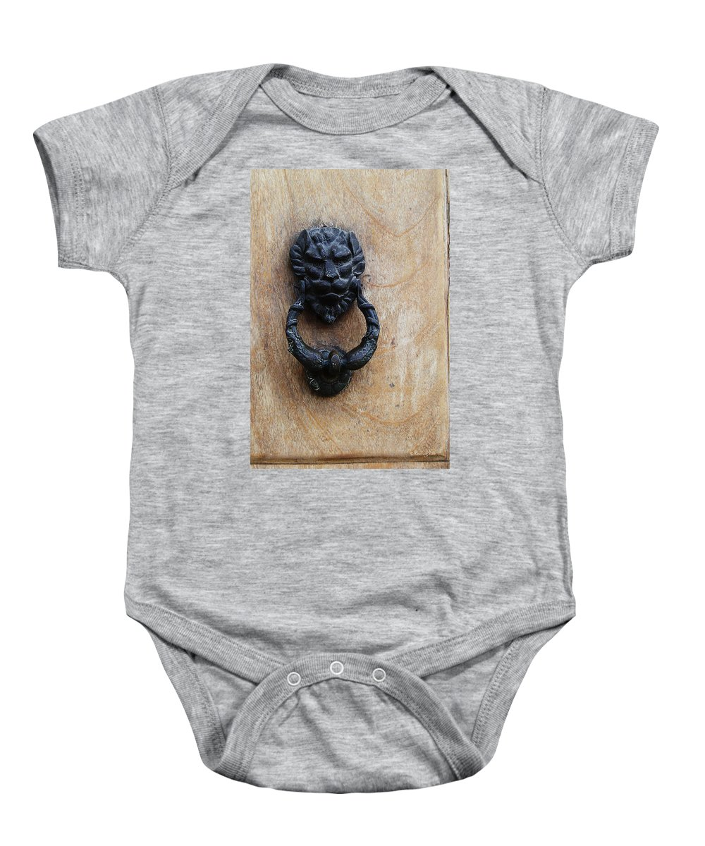 Hardware Baby Onesie featuring the photograph Guatemala Door Decor 2 by Xueling Zou