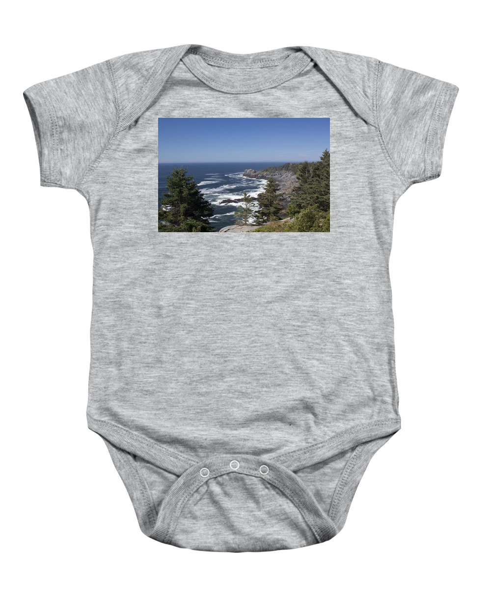 Gull Baby Onesie featuring the photograph Gull Rock And Burnt Head by Jean Macaluso