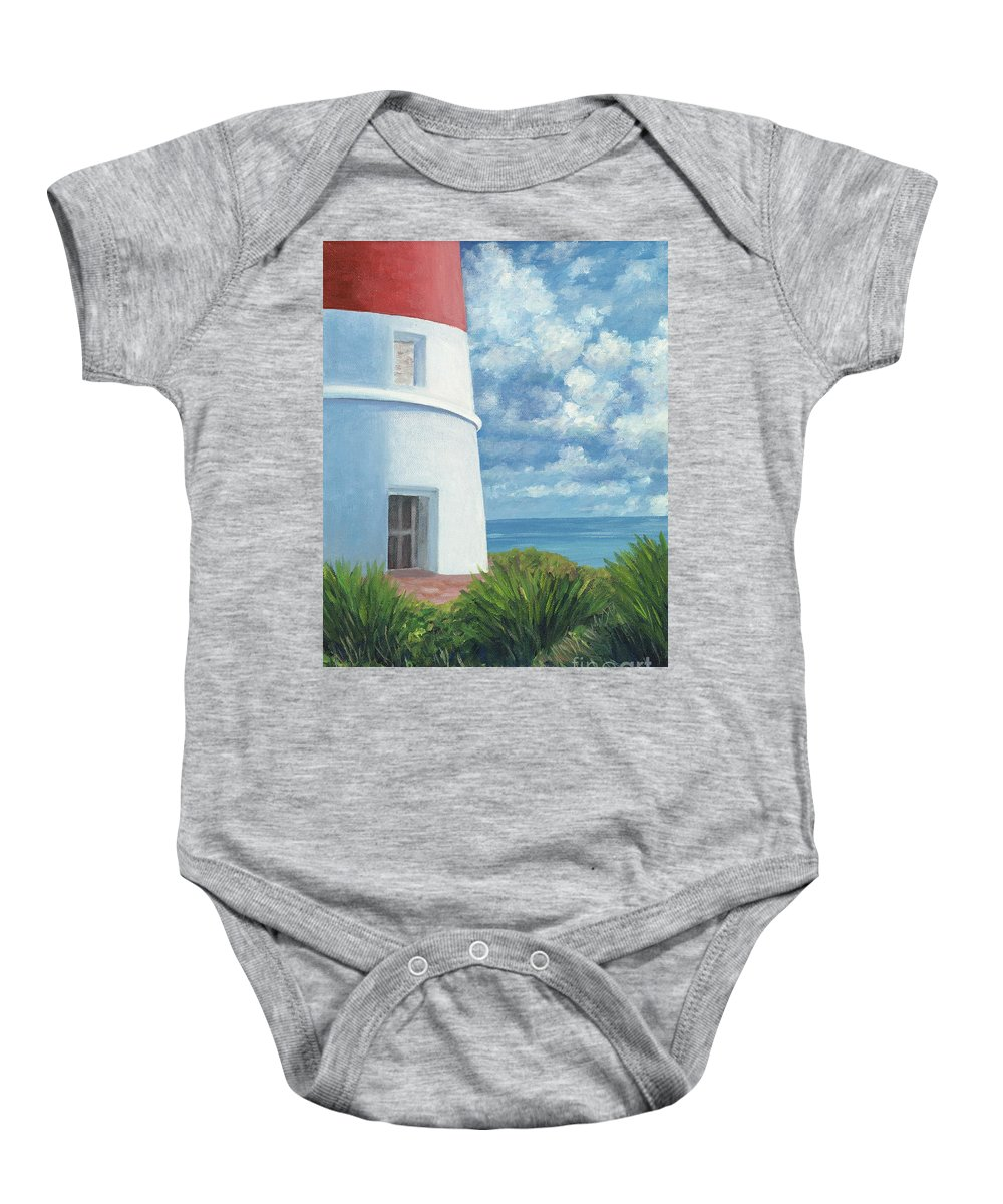 Seascape Baby Onesie featuring the painting Gun Cay Lighthouse by Danielle Perry