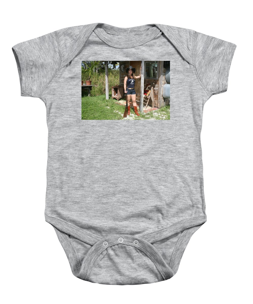 Lucky Cole Biker Outpost Baby Onesie featuring the photograph Gun Smoke And Lead 005 by Lucky Cole