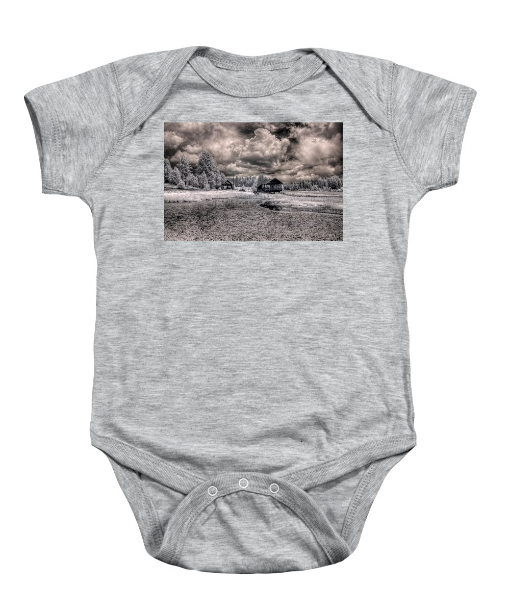 Scenic Baby Onesie featuring the photograph Gypsy Bay Road Lumber Mill 1 by Lee Santa