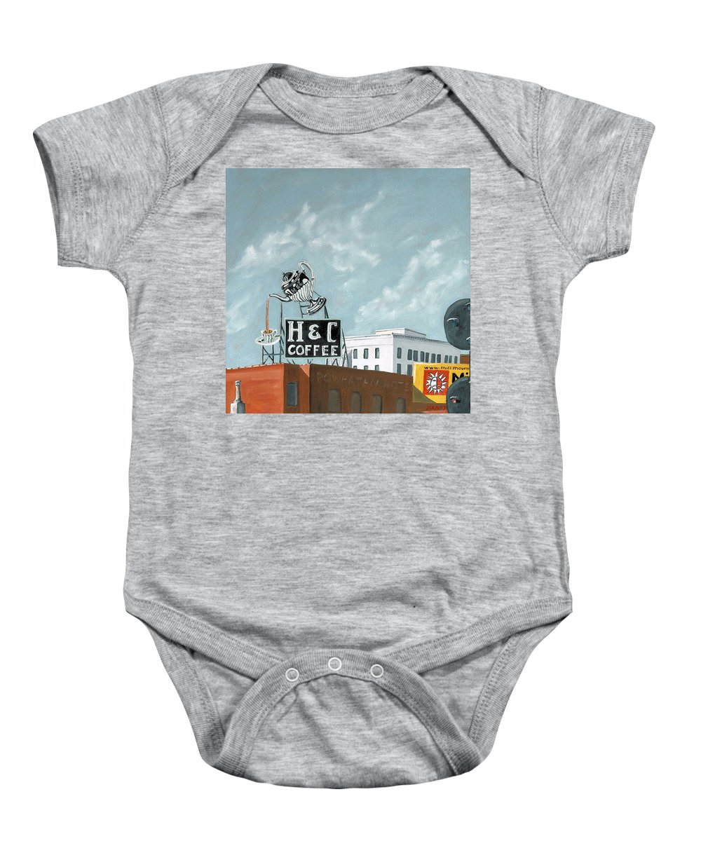 Sign Baby Onesie featuring the painting H And C Coffee by Todd Bandy