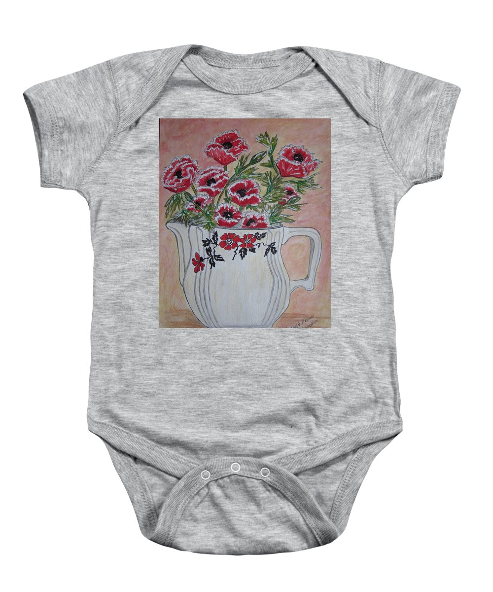 Hall China Baby Onesie featuring the painting Hall China Red Poppy And Poppies by Kathy Marrs Chandler