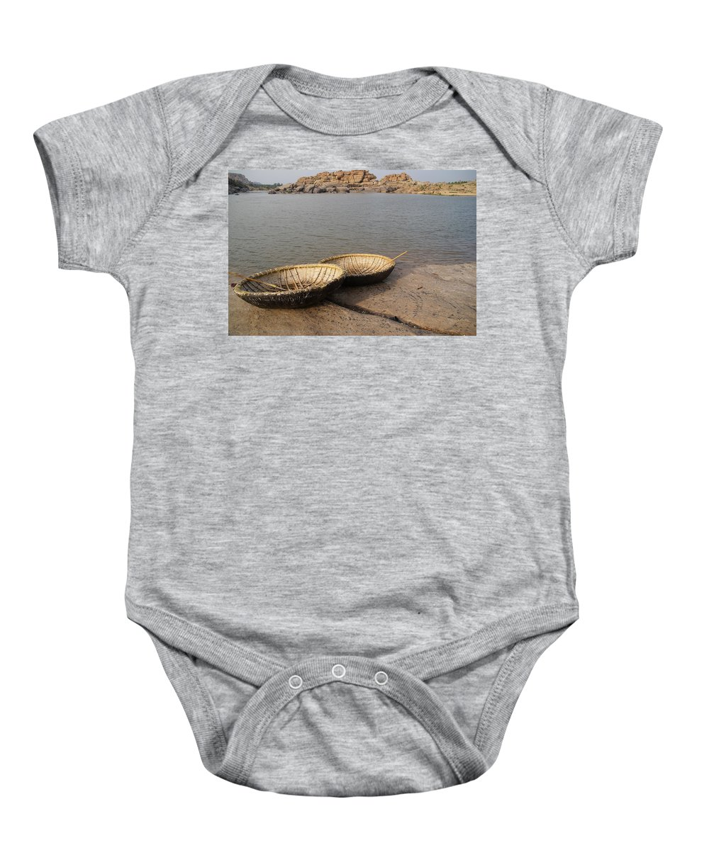 Hampi Baby Onesie featuring the digital art Hampi River Scenes by Carol Ailles