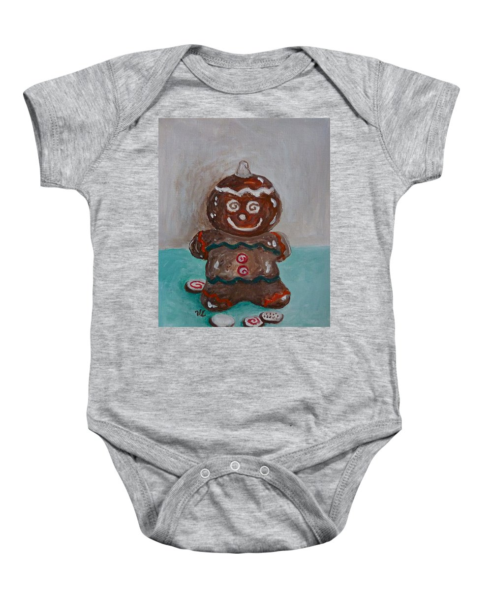 Gingerbread Baby Onesie featuring the photograph Happy Gingerbread Man by Victoria Lakes