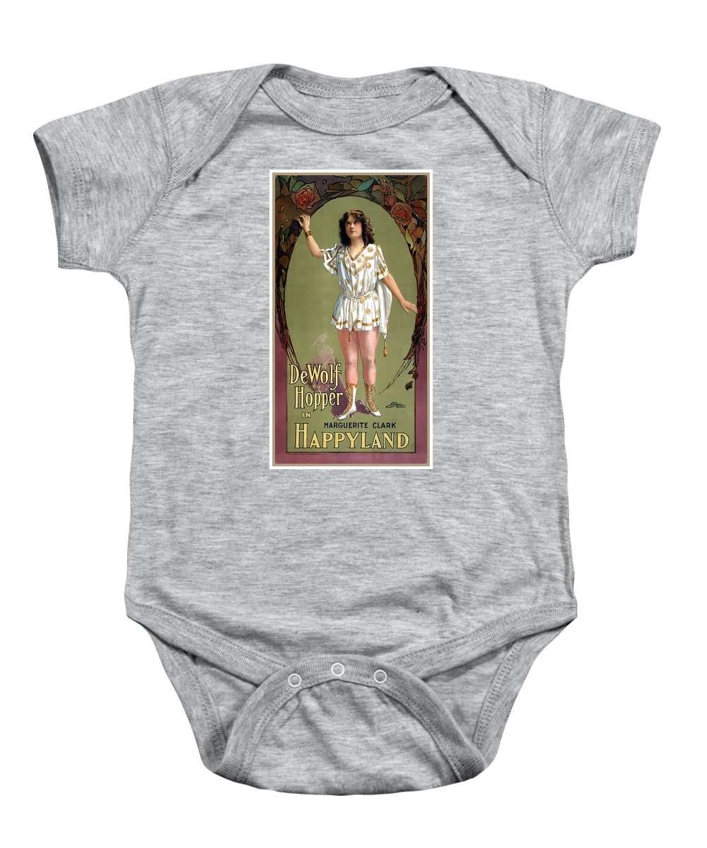 Vintage Poster Baby Onesie featuring the painting Happyland by Terry Reynoldson