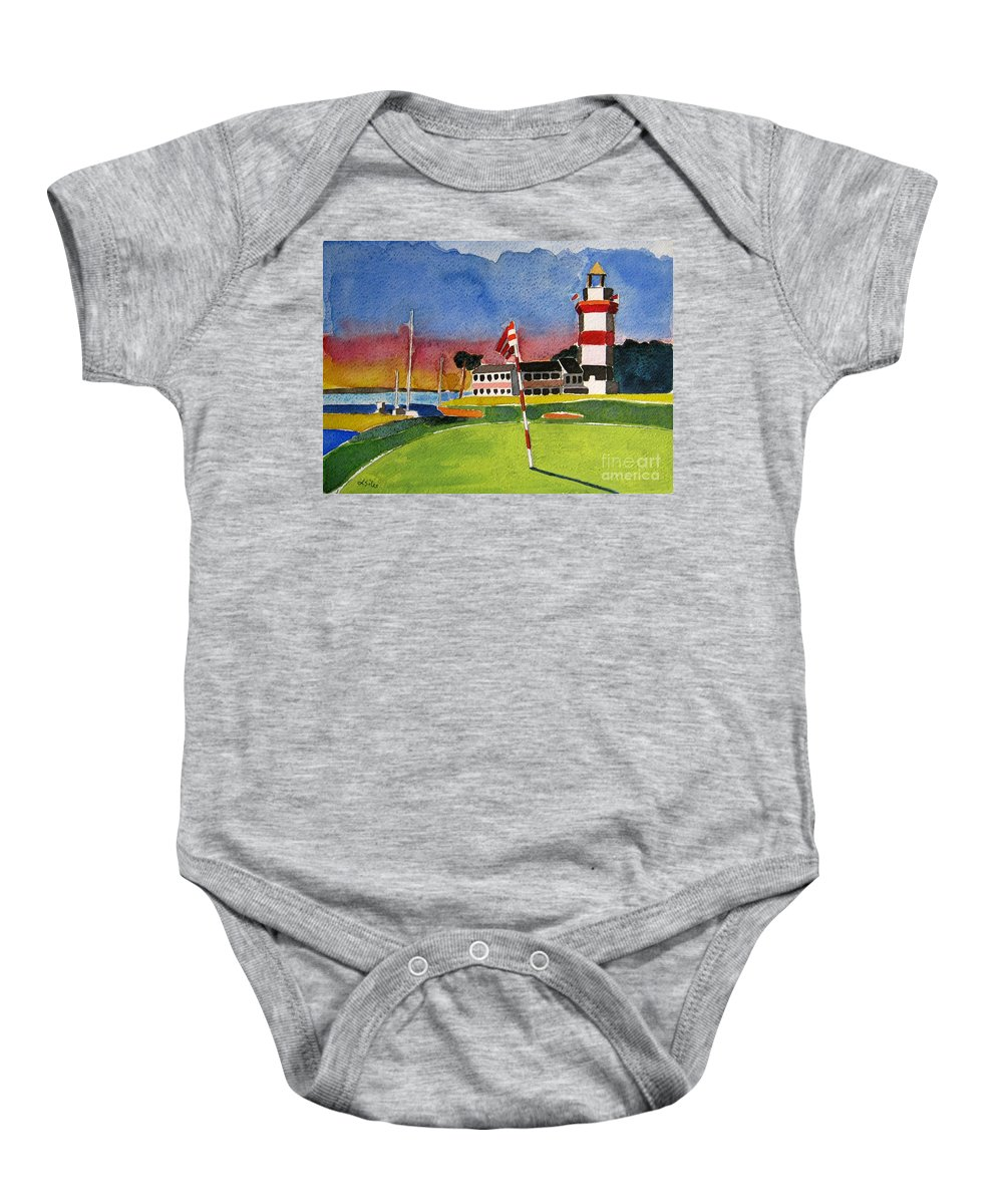 Golf Baby Onesie featuring the painting Harbour Town 18th Sc by Lesley Giles