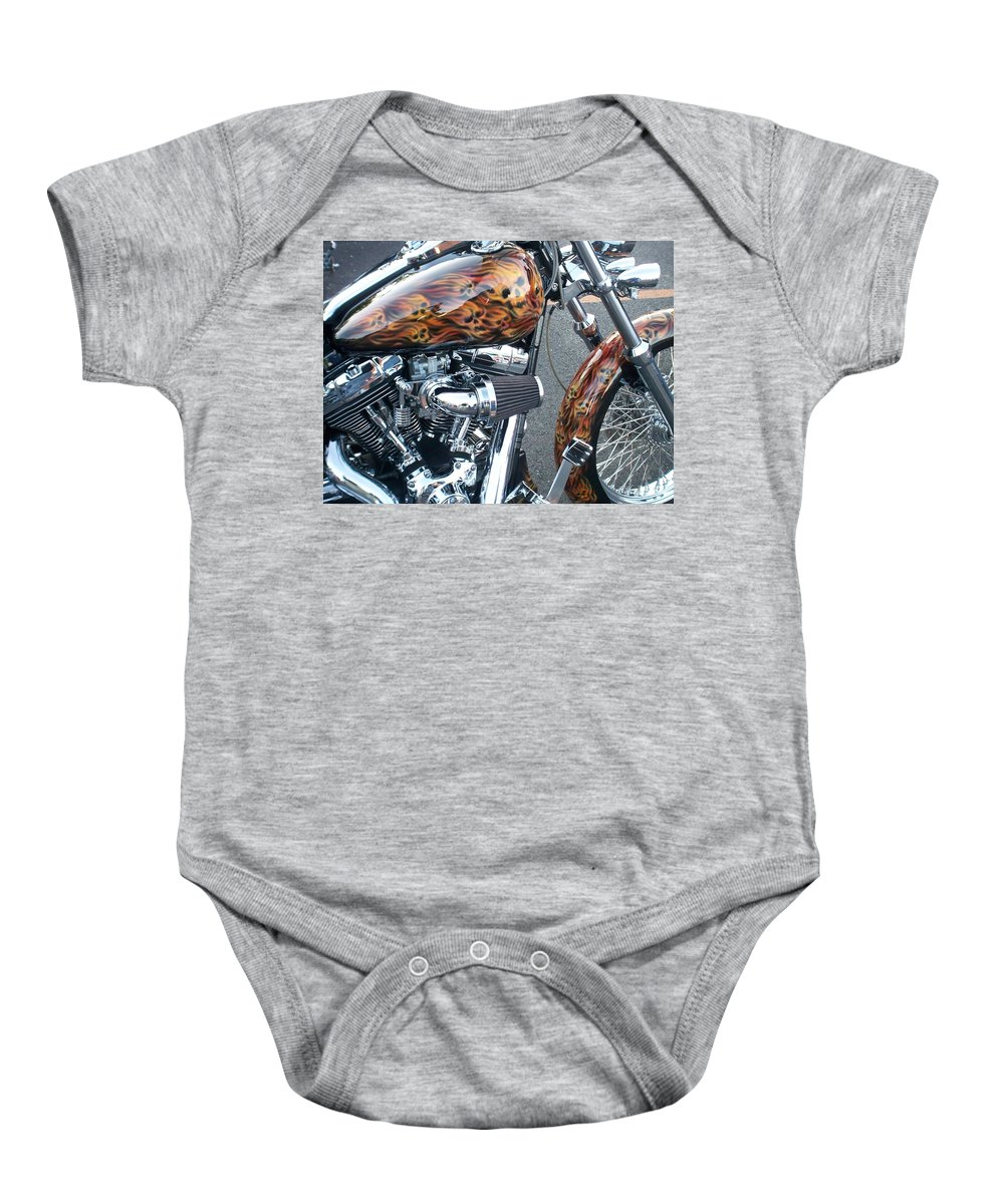 Motorcycles Baby Onesie featuring the photograph Harley Close-up Skull Flame by Anita Burgermeister