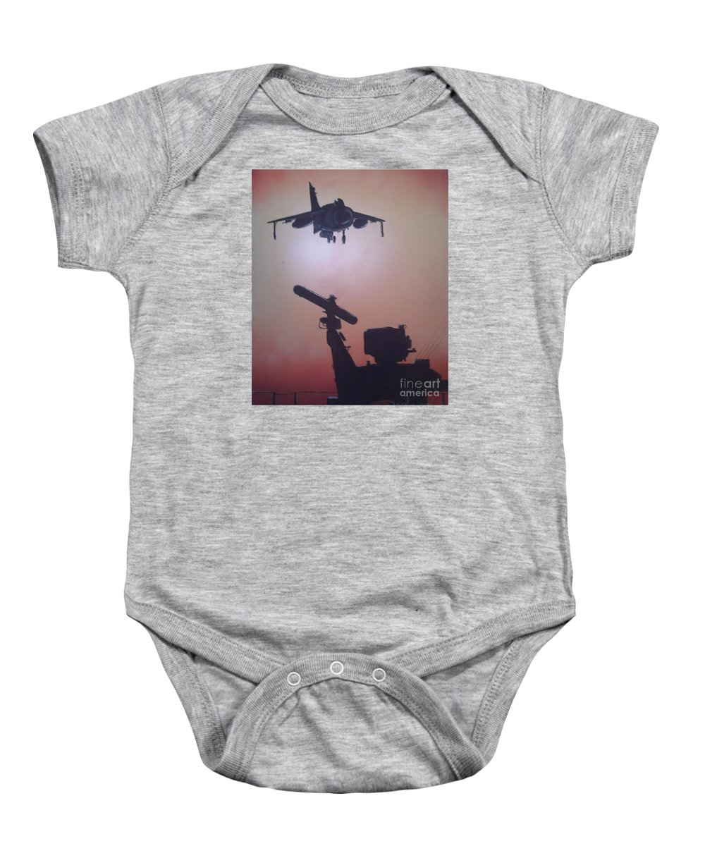 Jets Baby Onesie featuring the painting Harrier On Finals by Richard John Holden RA