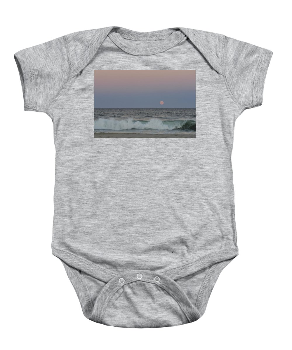 Harvest Moon Baby Onesie featuring the photograph Harvest Moon Seaside Park New Jersey 2013 by Terry DeLuco