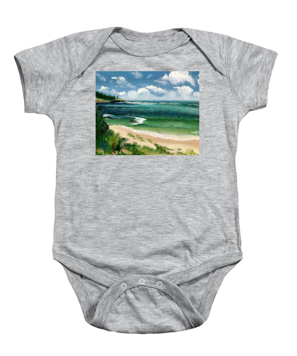 Hawaii Baby Onesie featuring the painting Hawaii Beach by Jamie Frier