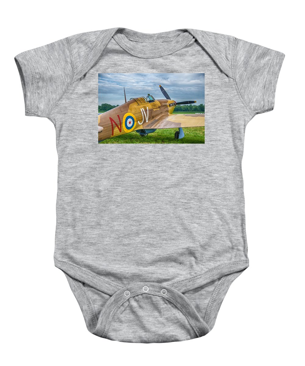 Aviation Baby Onesie featuring the photograph Hawker Hurricane 7d08c by Guy Whiteley