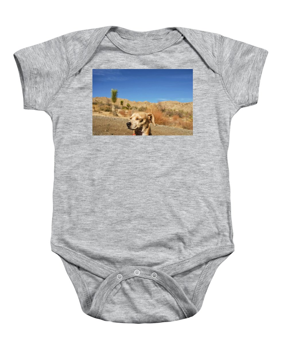 Princess Betty Biscuits Baby Onesie featuring the photograph Headache by Angela J Wright