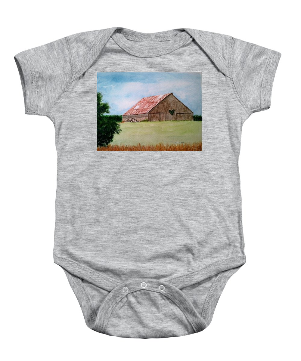 Barn Baby Onesie featuring the painting Heartland Barn by B Kathleen Fannin