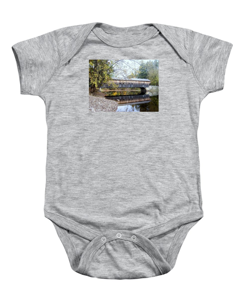 Covered Bridges Baby Onesie featuring the photograph Hemlock Covered Bridge by Catherine Gagne