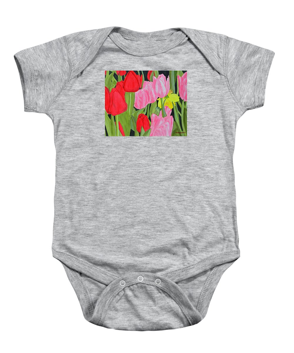 Tulips Baby Onesie featuring the painting Hide 'n Seek by Donna Manaraze