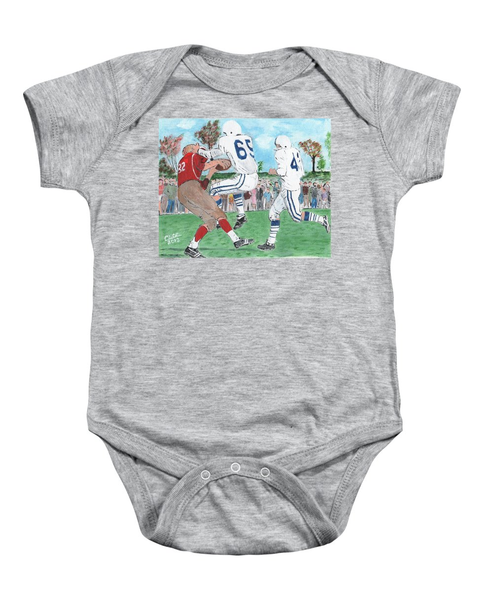 Football Baby Onesie featuring the painting High School Football by Cliff Wilson