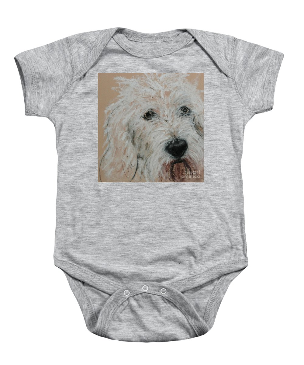Dog Baby Onesie featuring the pastel High Spirits by Cori Solomon