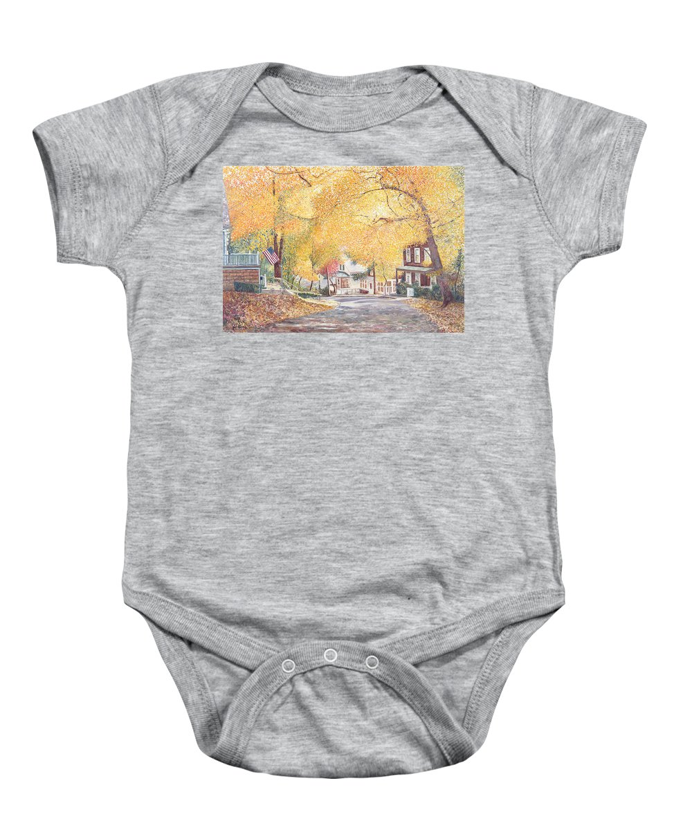 Autumn Baby Onesie featuring the painting Hillside Avenue Staten Island by Anthony Butera