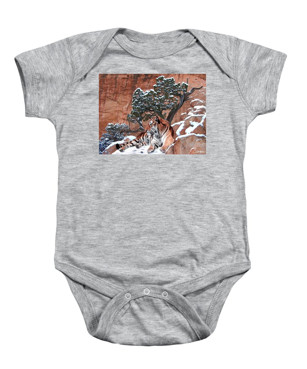 Tigers Baby Onesie featuring the photograph His Mountain by Bill Stephens