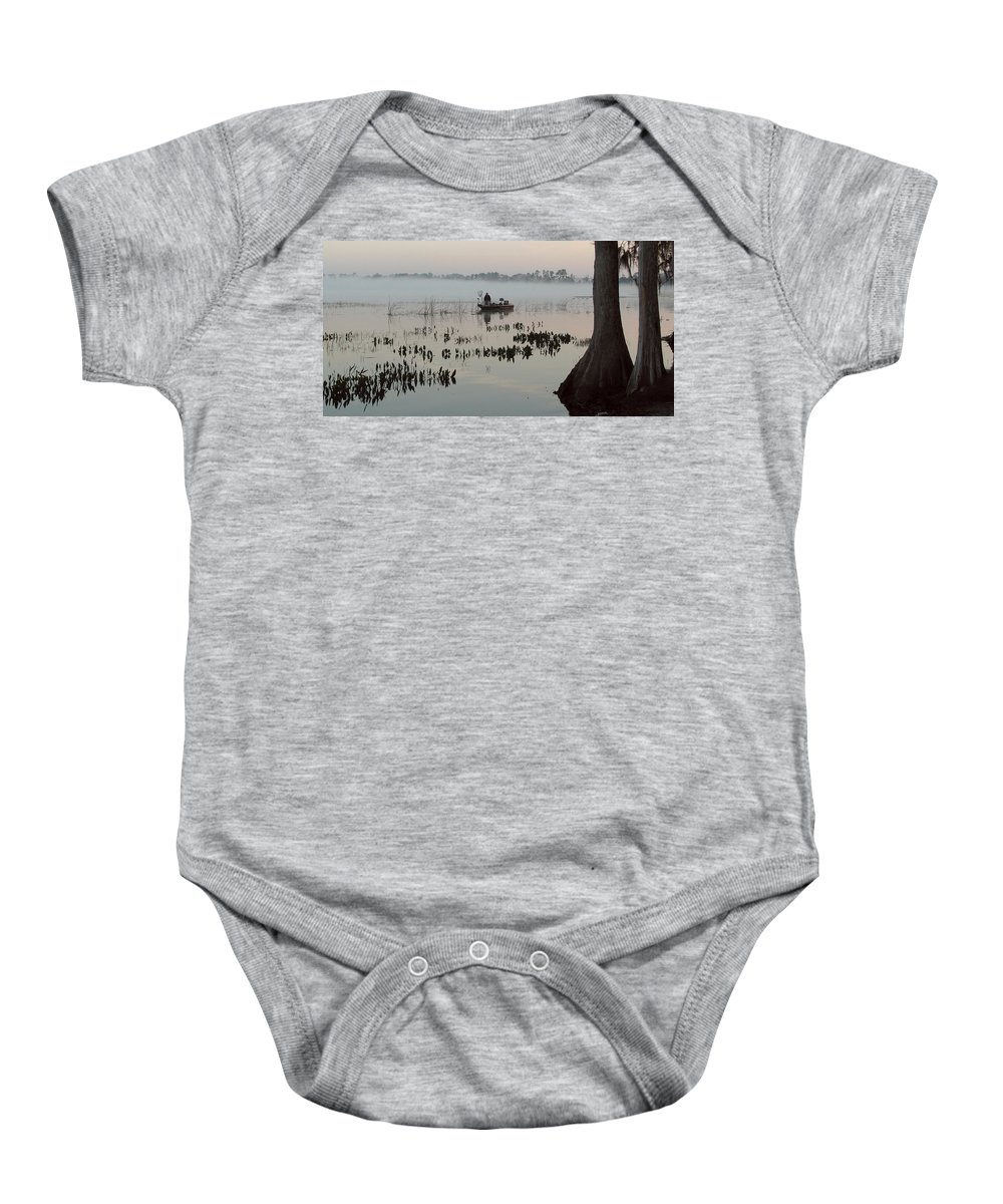 Landscape Baby Onesie featuring the photograph His Time by Peg Urban