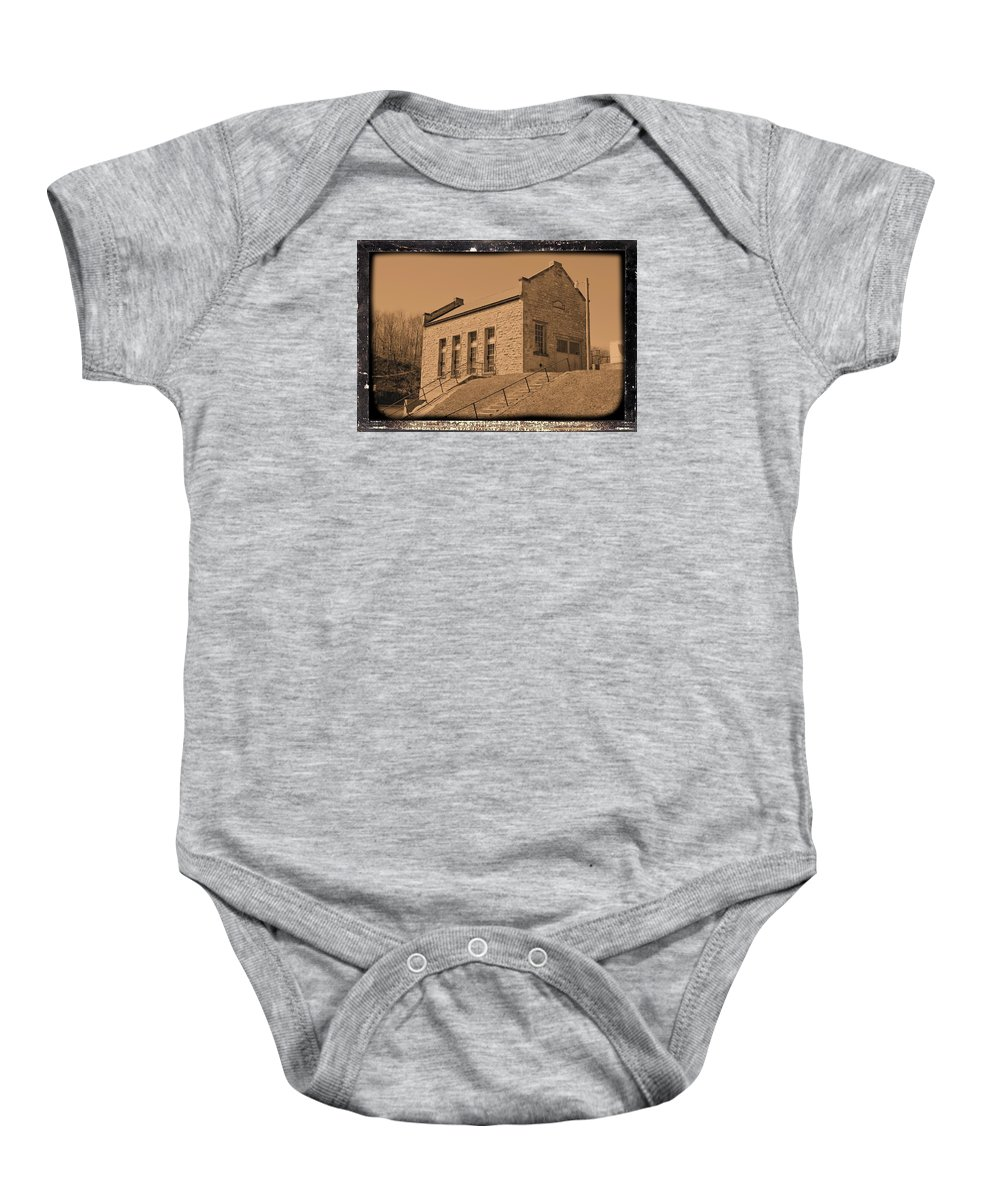 Dam Baby Onesie featuring the photograph Historic Power Sepia by Bonfire Photography