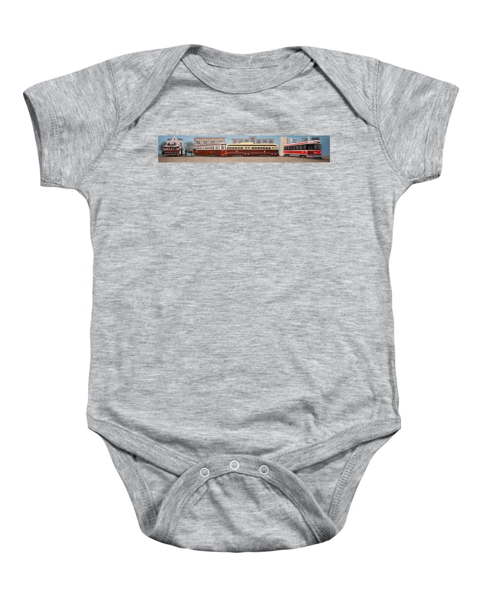 Streetscapes Baby Onesie featuring the painting History Of The Toronto Streetcar by Kenneth M Kirsch