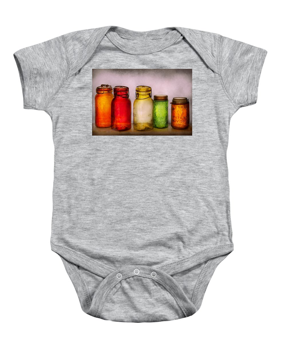 Savad Baby Onesie featuring the photograph Hobby - Jars - I'm A Jar-aholic by Mike Savad