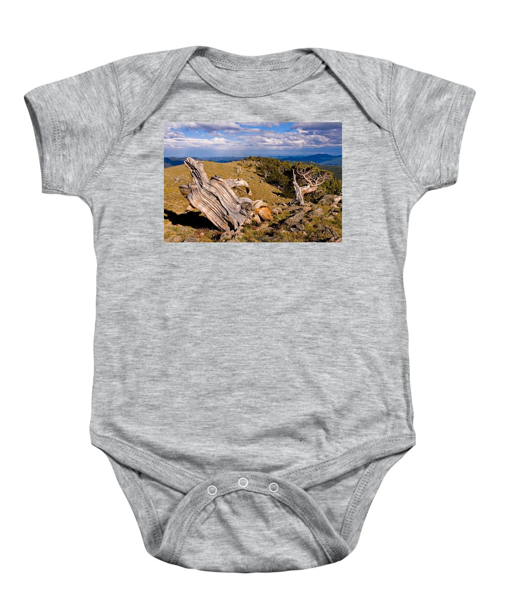 Bristlecone Pine Photograph Baby Onesie featuring the photograph Hoe-down At The Top Of The World by Jim Garrison