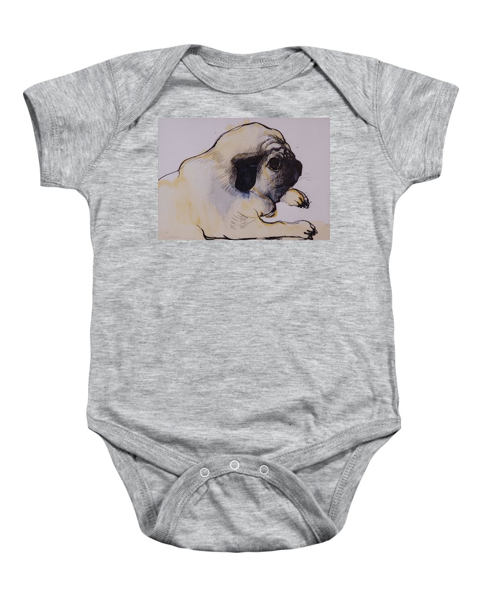 Pug Baby Onesie featuring the painting Hogarth by Brenda Brin Booker