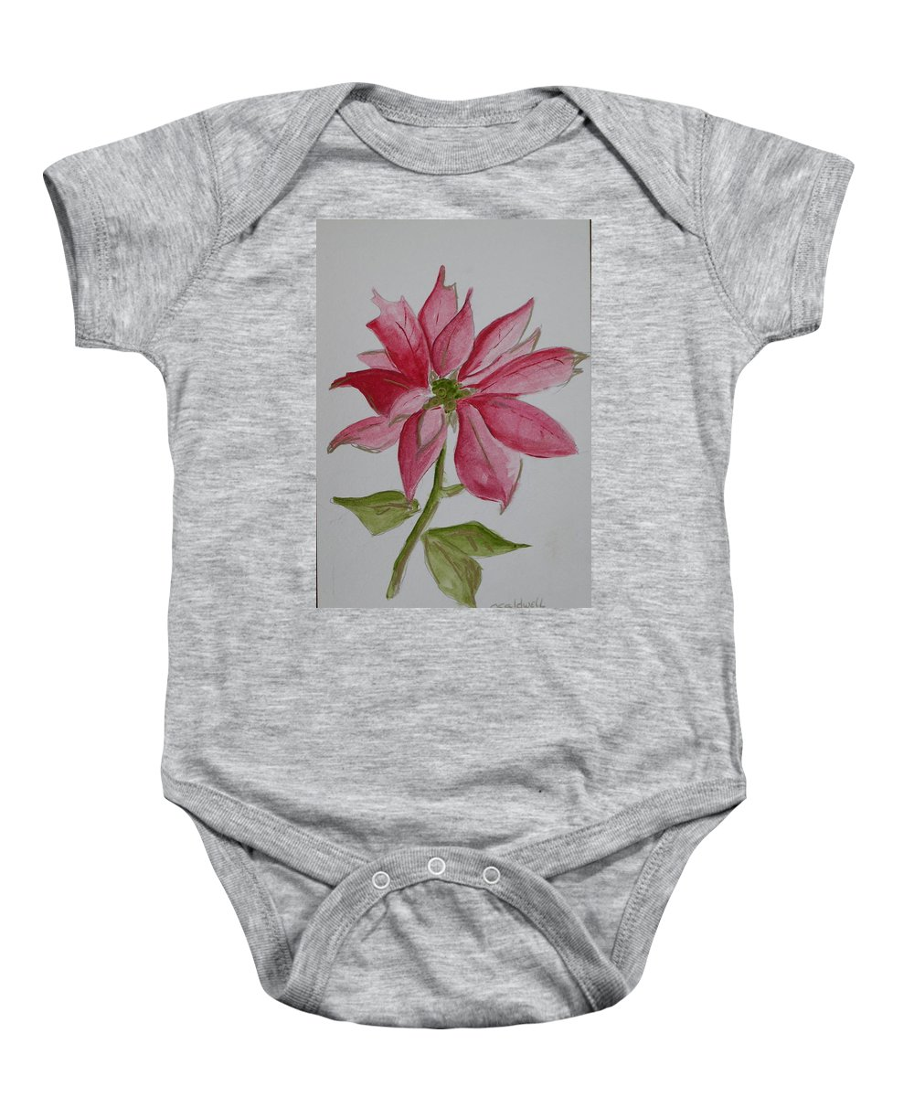 Flower Christmas Baby Onesie featuring the painting Holiday Flower by Patricia Caldwell