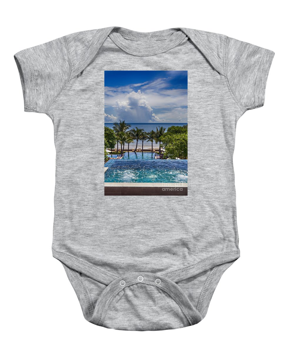 Thailand Baby Onesie featuring the photograph Holiday Resort With Jacuzzi And Pool by Sophie McAulay