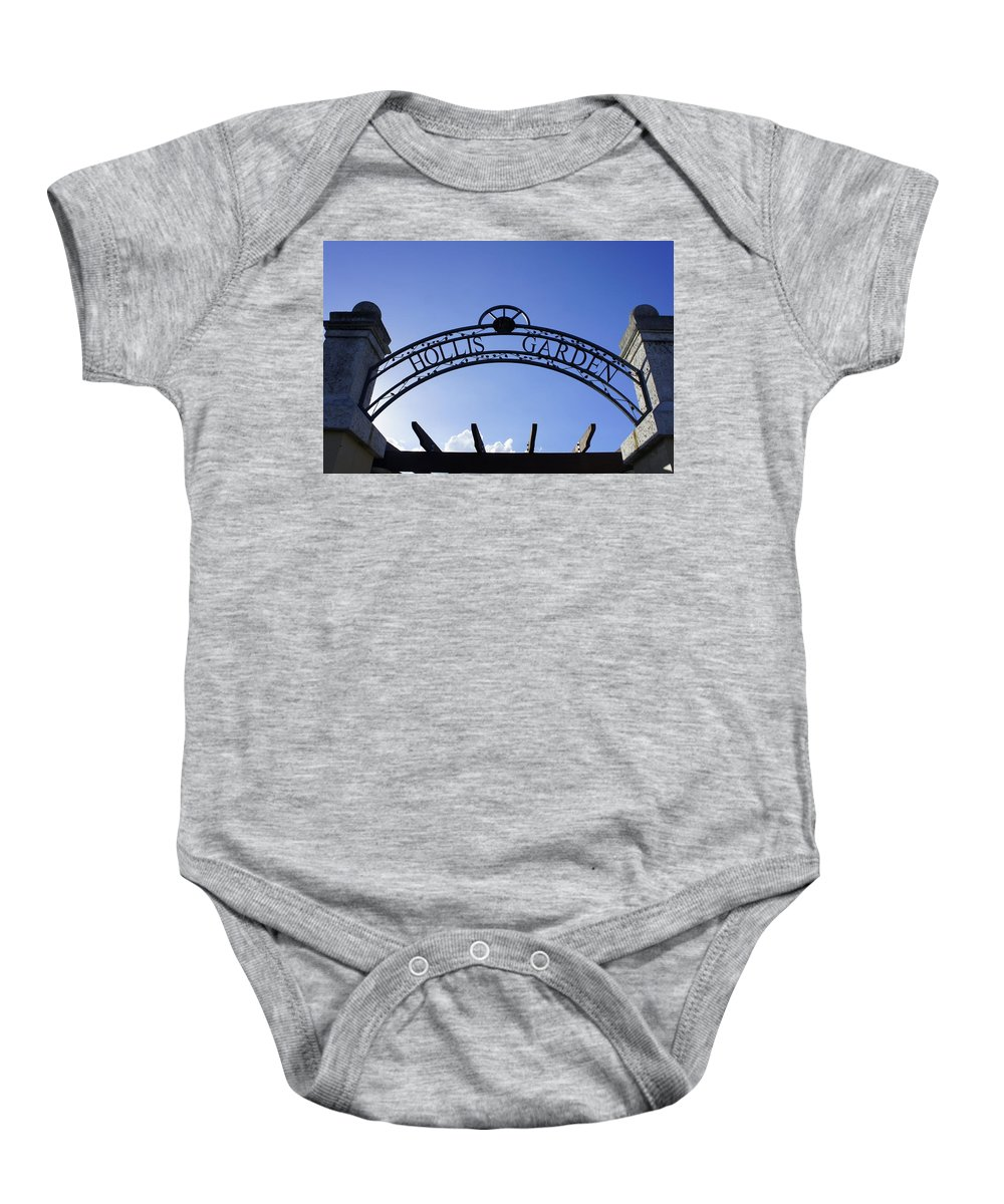 Sign Baby Onesie featuring the photograph Hollis Gardens Entrance by Laurie Perry