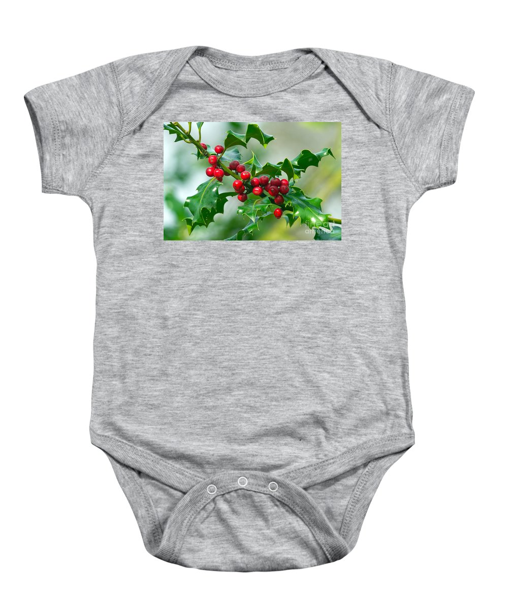 Holly Baby Onesie featuring the photograph Holly Berries by Sharon Talson