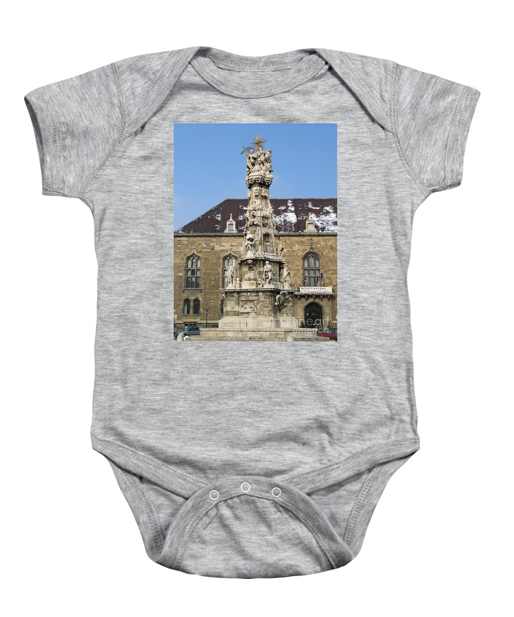 Holy Trinity Baby Onesie featuring the photograph Holy Trinity Statue Budapest by Jason O Watson